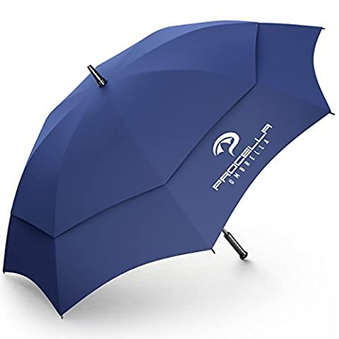 Golf Umbrella 62 Inch Windproof Automatic Vented Light, For Men & Women The Best on Amazon Stormproof, by Procella Umbrella (Navy Blue)