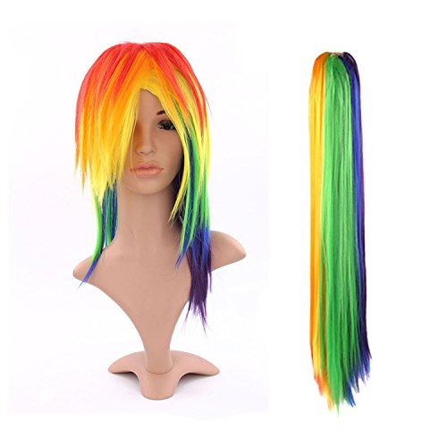Damen Perücke Regenbogen Gerade Multi-Color Rainbow Wig Lang -