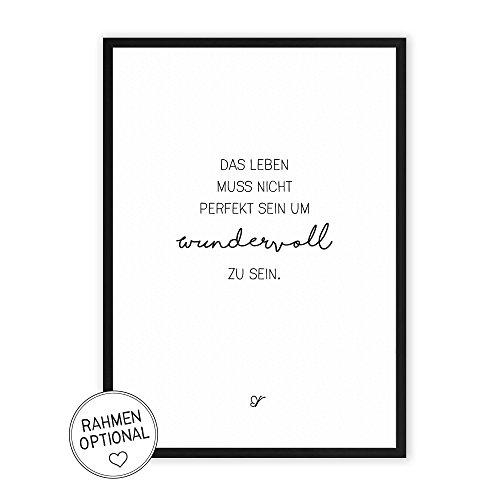 Wundervolles Leben - Kunstdruck auf wunderbarem Hahnemühle Papier DIN A4 -ohne Rahmen- schwarz-weißes Bild Poster zur Deko im Büro/Wohnung/als Geschenk Mitbringsel zum Geburtstag etc.