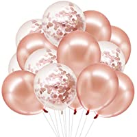HusDow Rose Gold Balloons Set, 50pcs Party Balloons including Rose Gold Latex Balloons Confetti Balloons for Birthday, Weddings, Baby Shower Party Decorations