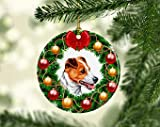 Dkisee Unique Embellishments Round Shaped Ceramics Porcelain Ornament Dog Jack Russel Christmas Holiday Decor