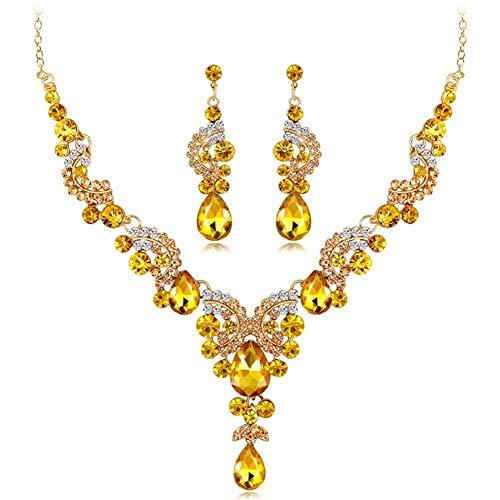 LABAICAI 2019 Neue modetrend Exquisite kristall indische Halskette Ohrringe Armband Ring schmuck Set Frauen Braut Braut Hochzeit kostüm schmuck (Metal Color : 3) (Neue Halloween-kostüme 2019 Damen Für)