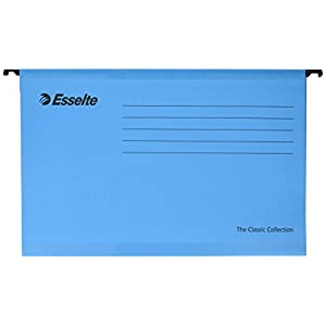 Esselte Classic Reinforced Suspension File, Foolscap, Pack of 25, Tabs Included, Blue, 90334