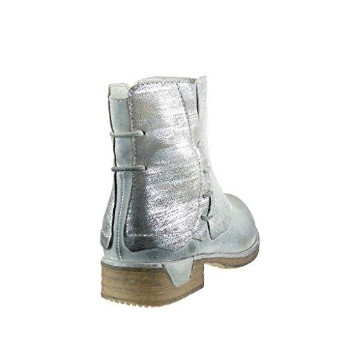 Angkorly - Scarpe Moda Stivaletti Scarponcini cavalier bi-materiale donna trapuntata nodo camouflage Tacco a blocco 3 CM Argento