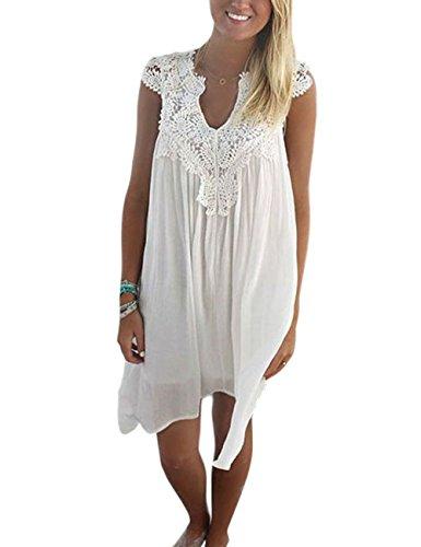 Elegant Damen Sommerkleid Strandkleid Rundkragen Spitze-stückeln Ärmellos Chiffonkleid Rock Partykleid Tunika Blusen Shirt (xl, Weiß)