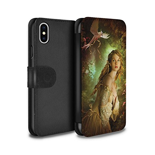 Officiel Elena Dudina Coque/Etui/Housse Cuir PU Case/Cover pour Apple iPhone X/10 / Beau Paon Design / Les Oiseaux Collection Carte Postale/Ruban