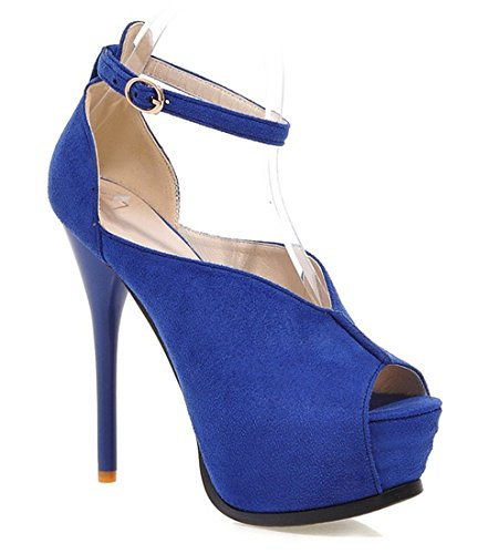 YE , Escarpins peep-toe femme Beige - Bleu