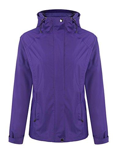 Tomasa Damen Mantel Jacke mit Kapuze Reißverschluss Softshell Übergangsjacke Outdoor Sport Leichtgewichtige Regenjacke (Kapuze Mantel Jacke)