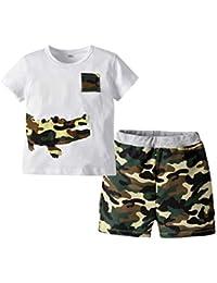 Puseky - Conjunto de camiseta y pantalones cortos de verano con diseño de cocodrilo