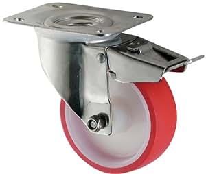 Inox Coldene Roulette pivotante à frein avec roue en polyuréthane