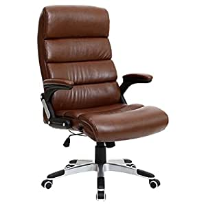 HAVANA BROWN LUXURY RECLINING EXECUTIVE LEATHER OFFICE DESK HIGH BACK CHAIR by More4Homes