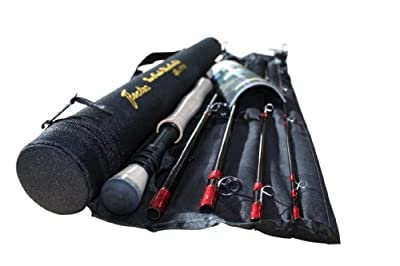 Flextec Oscar 9ft 5 Piece Travel Fly Fishing Rod for trout, carp, sea trout, ideal for holidays etc comes with Cordura carry Case 9ft in sizes 5/6, 6/7, 7/9 by Flextec