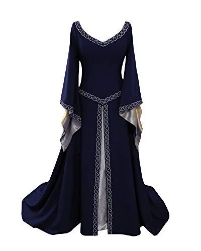 Liangzhu Damen Langarm Mittelalter Kleid Gothic Viktorianischen Königin Kostüm V-Ausschnitt Prinzessin Renaissance Bodenlänge Mehrfarbig Kleider Marine S