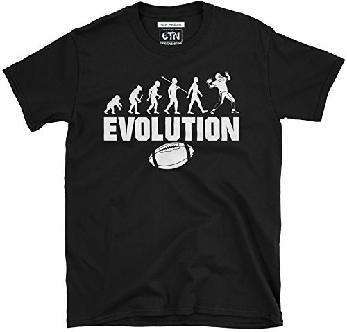 6TN Herren Evolution des American Football T-Shirt - Schwarz, X-Large