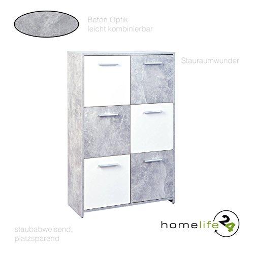 H24living Kommode mit 6 Türen in Beton hell weiß optik Sideboard Mehrzweckschrank Anrichte Diele Flur Esszimmer Wohnzimmer
