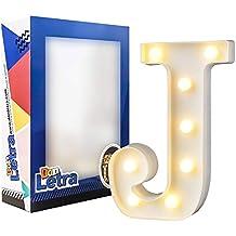 DON LETRA Letras Decorativas con 8 Bombillas de LED, Letras A-Z, 2 Pilas AA