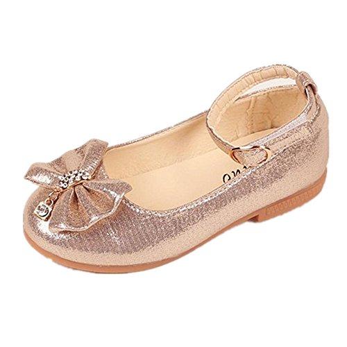 Byste scarpe da bambina bowknot scarpe da principessa fondo morbido scarpette da ballo scarpe singole ragazze mary jane scarpe basse principessa bridal partito formale (23 eu, oro)