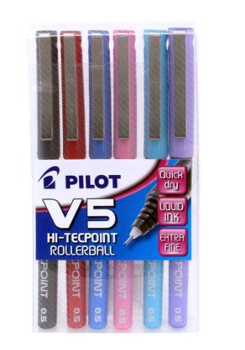 Pilot V5 - Bolígrafos roller (6 unidades), varios colores