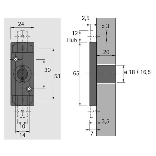 1 Stück Zyl.-Schubstangenschloss Prestige 2000 Z23, Durchm. 18mm 072686