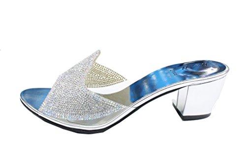 Wear & Walk UK , Damen Sandalen Mehrfarbig Black/Gold/Silver Silber