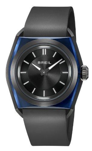 Breil Herren-Quarzuhr mit schwarzem Zifferblatt Analog-Anzeige und schwarz Silikon Armband tw0982