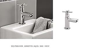 Moderne d'eau froide robinet de lavabo-Valve modèle: Stand de Padoue (Chrome, Brillant, eau froide) Croix de poignée de schuette