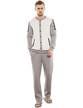 Manica lunga cotone pigiama vestaglia inverno nightwear da ultimo uomo che può essere indossato all'aperto , xl