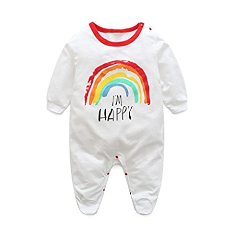 Igemy Newborn Infant Baby Boys Girls Long Sleeve Print Romper Jumpsuit Outfits Clothes (0-3Months, White)