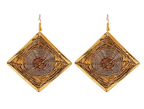 Touchstone Indian Bollywood Desire Finely Hand Finished Concentric Basket Weave Wire Pretty Look Designer Jewelry Square Shape Earrings In Gold Silver And Copper Tones For Women - Square Base Post