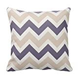 Standard Size 20 by 20 Dark Purple, Tan, Ivory Chevron Pattern Pillow Cover Cushion Case Cotton Pillowcase with Invisible Zipper