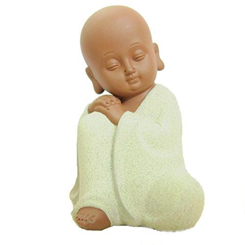 LU2000Bücherregal Statue Buddha Figur, süße Keramik Kleine Mönch Buddha-Statuen Skulptur Fine Art Home Office Decor für Schreibtisch Buches Rack, Raum (Meditation Mönch–Beige) (Asiatisches Bücherregal)
