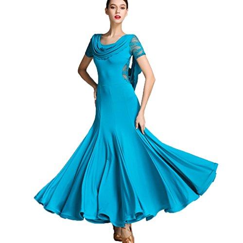 Rongg Frauen Ballsaal Tanz Kleid Spitze Hülsen Moderne Waltz Praxis Tanz Kostüm Leistung Kleider für Mädchen, Blue, XXL (Blue Zeitgenössischen Tanz Kostüm)