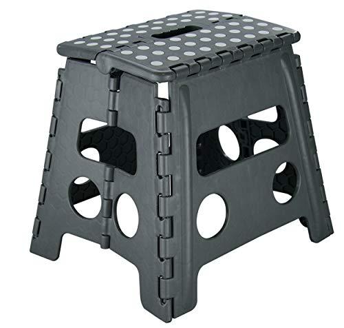 SHD Stabiler Klapphocker Kunststoff faltbar, Tritthocker zusammenklappbar | Klapptritt bis 150kg | 2 Farben | Maße aufgestellt: 37 x 30 x 32 cm | Tragbar Rutschfest Platzsparend (Anthrazit/Weiß)