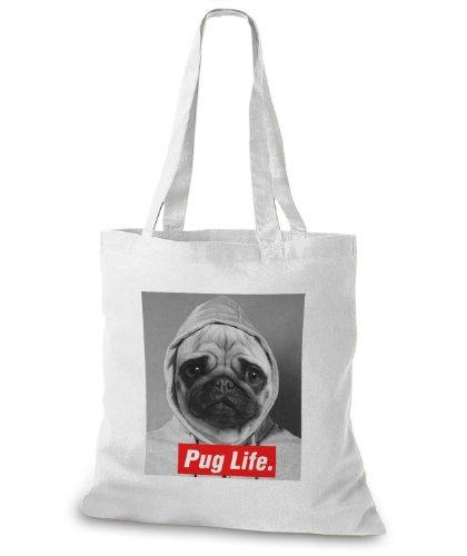 StyloBags Jutebeutel / Tasche Pug Life v3 Weiß