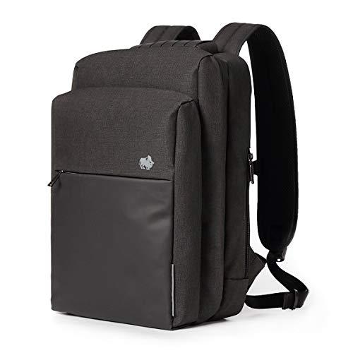 """BISON SPIRIT 15.6"""" Business Laptop Rucksack I 2 Fächer I College Schooltaschen mit USB Ladeanschluss Für Damen und Herren Schwarz"""