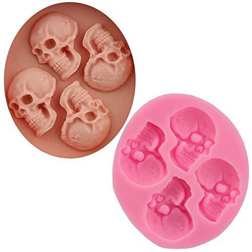 4 Schädel Halloween Gothic, 3D-Silikon-Schokoladen-Soap-Kuchen, Fondant Cupcake, Ton, Harz, Wachs, Gelee-Herstellung von Schimmel, Gips Cookies Gelatine (Cupcakes Fondant Halloween)