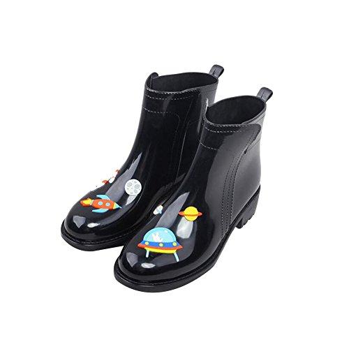 Meijunter Personal Femmes Low-Calf Caoutchouc Rainboots Bottes de pluie Imperméable Martin Rain Boots Shoes Chaussures nautiques Black Blue