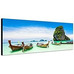 Cuadro en Lienzo como Panorama 120x 40cm Tailandia Roca playa mar barcos