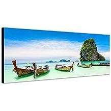 Quadro da parete su tela come Panorama in 120x 40cm Thailandia Roccia spiaggia mare barche