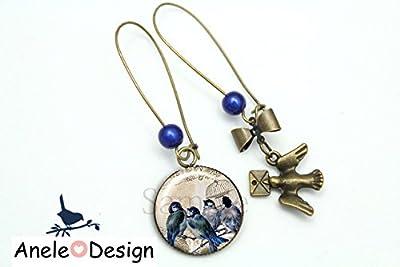 Boucles d'oreille Oiseau bird lettres cage - vintage bleu beige noir cabochon