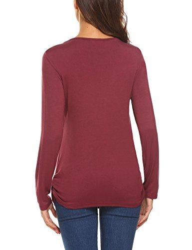 hotouch Donna Incinta maglietta Stillshirt Shirt Premaman per gravidanza maternità Camicetta con scollo rotondo Lang Burgunder