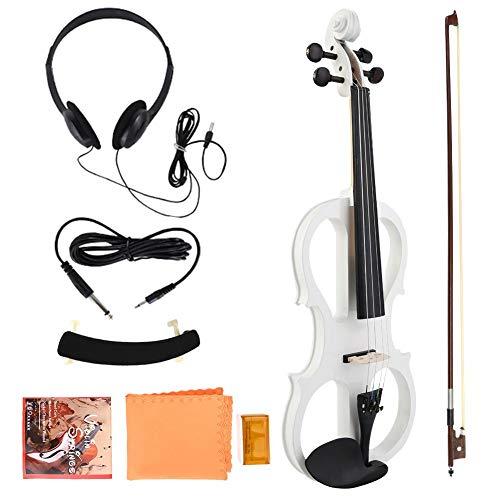 4/4 Elektrische Violine, Full Size Wood Maple Musikinstrument mit Kolophonium-Kopfhörergebrauchsbatterie(Weiß)