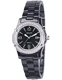Accurist Women's Quartz Watch with Black Dial Analogue Display and Black Ceramic Bracelet Lb1650B