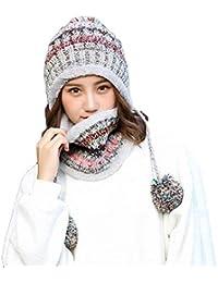Aisaving Sombrero y Bufanda Mujer Invierno Conjunto de Bufanda de Punto  Girls Beanie Hat Caliente Gorras con… a34098a49dd