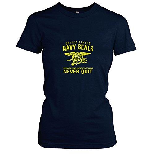 Texlab Damen Navy Seals Never Quit T-Shirt Dunkelblau, S -