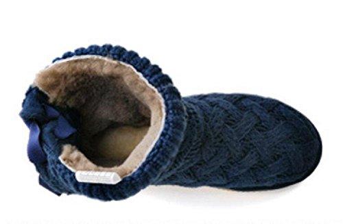 farfalla delle donne di inverno pizzo antiscivolo stivali di pelle di pecora della pelliccia di lana tessitura neve treasure blue