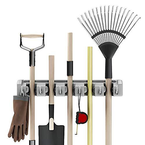 SOOKi An der Wand montierter Organizer-Mopp- und Besenständer mit 5 Kugelschlitzen und 6 Haken für die Gartenarbeit in der Waschküche (Bleistift-halter Einziehbare)