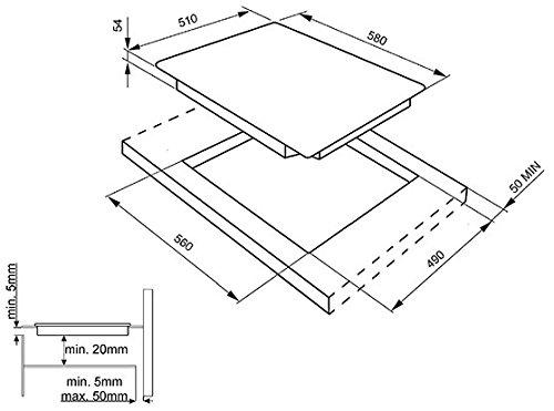 Smeg SEI563B hobs - Placa (Integrado, Inducción, Vidrio y cerámica, Tocar, Parte superior delantera, 7000W) Negro