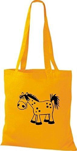 shirtstown Borsa di stoffa animale cavallo pony giallo dorato