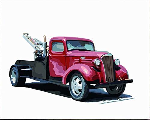 Superlucky Gemälde Zeichnung Malen nach Zahlen Leinwand mit Rahmen Nummerierung Malen nach Zahlen Kits Acryl Optimus Prime Truck Robot 40x50cm mit Rahmen (Vintage Optimus Spielzeug Prime)
